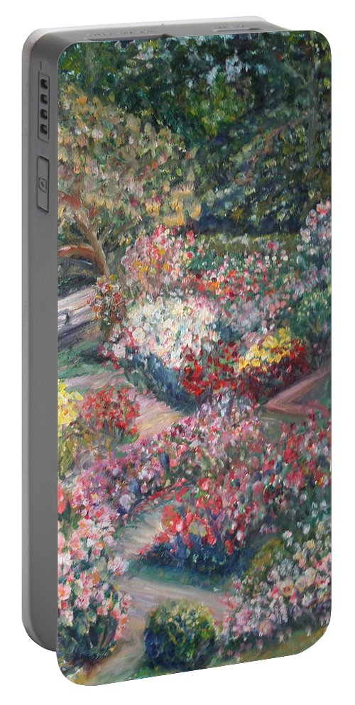 Impressionist Landscape Portable Battery Charger featuring the painting Rose Garden by Quin Sweetman