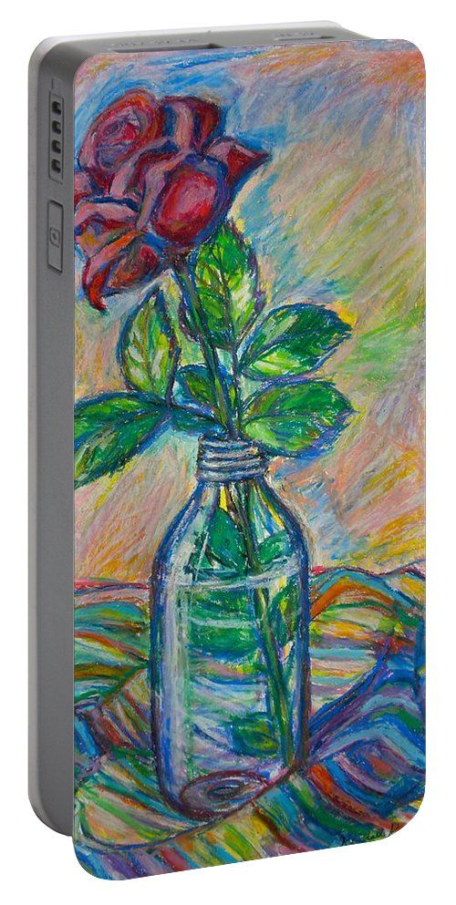 Still Life Portable Battery Charger featuring the painting Rose In A Bottle by Kendall Kessler