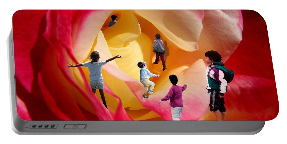 Rose Portable Battery Charger featuring the digital art Rose Labyrinth by Lisa Yount