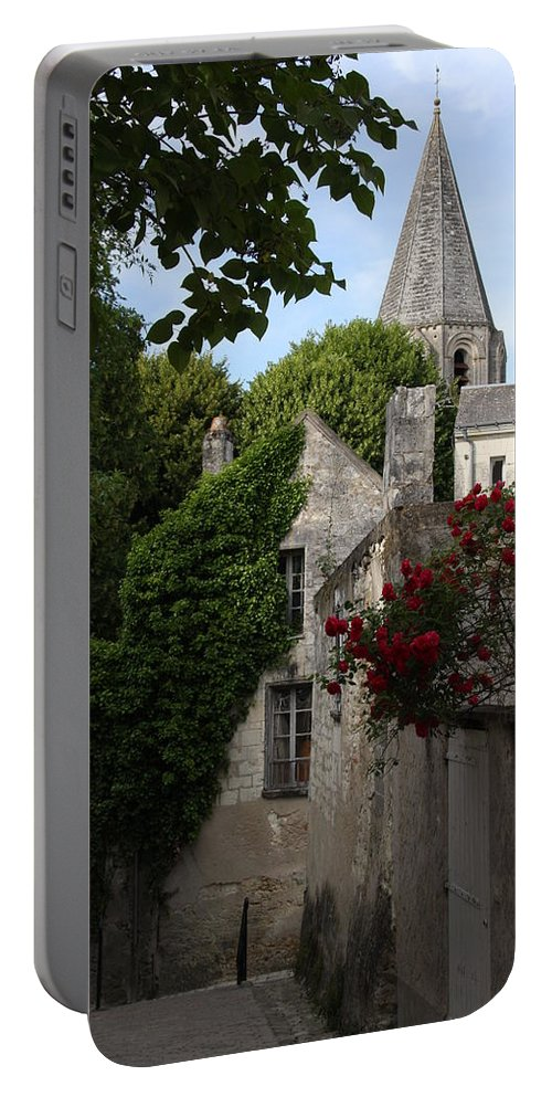 Narrow Street Portable Battery Charger featuring the photograph Rose Lane In Loches by Christiane Schulze Art And Photography