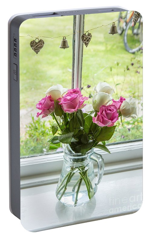 Roses In Vase Portable Battery Charger featuring the photograph Rose Vase With Hearts by Iris Richardson