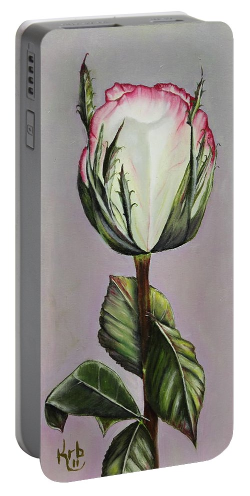 Rose Portable Battery Charger featuring the painting Rosebud by Karen Beasley