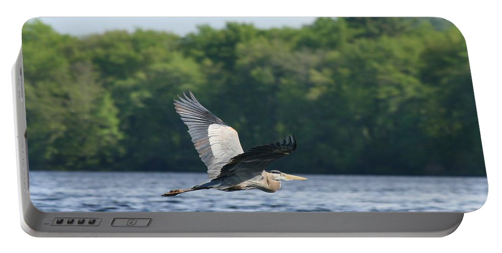 Heron Portable Battery Charger featuring the photograph Roseland Lake Great Blue Heron Fly By by Neal Eslinger
