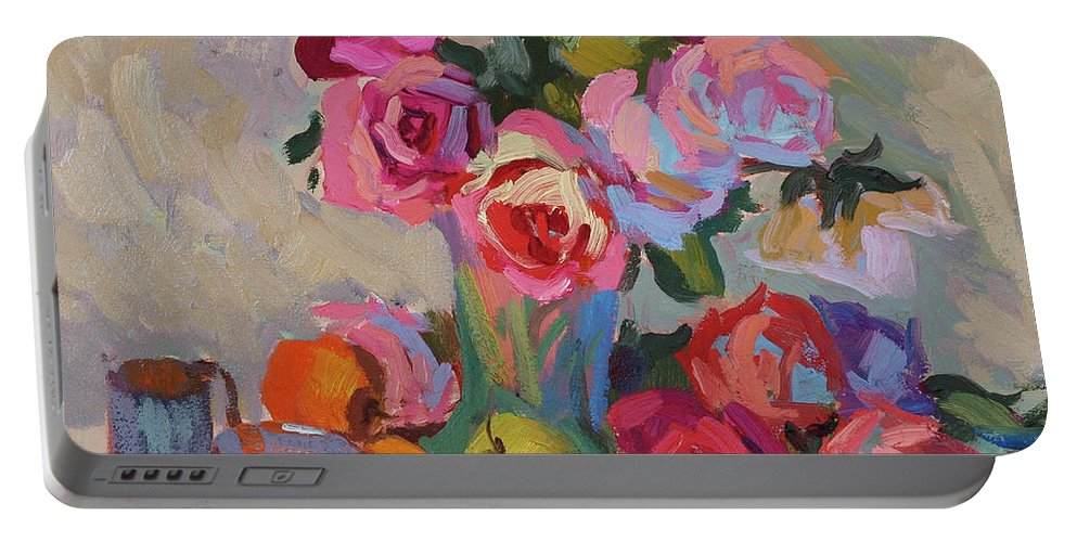 Roses And Apples Portable Battery Charger featuring the painting Roses And Apples by Diane McClary