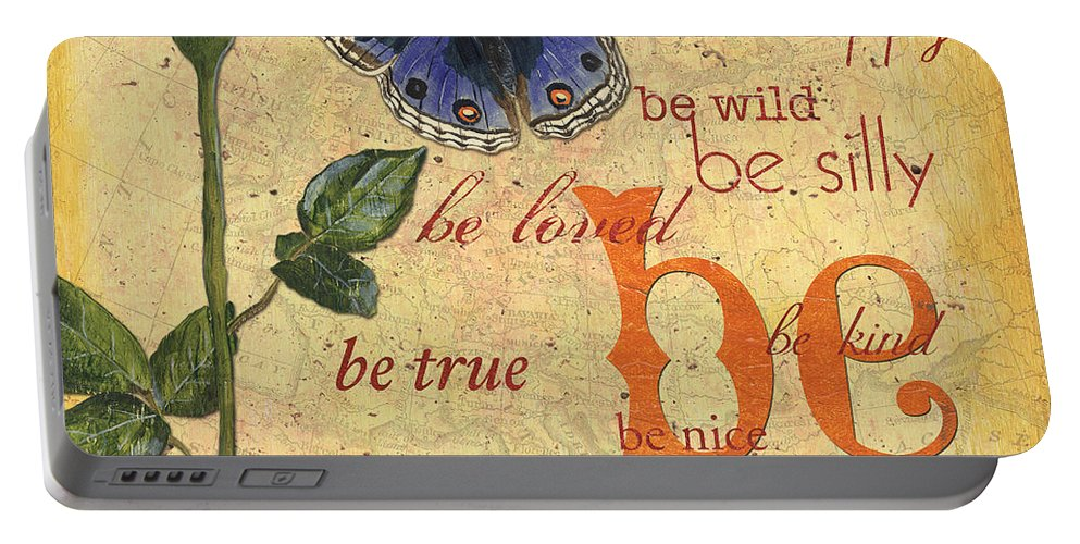 Butterflies Portable Battery Charger featuring the mixed media Roses And Butterflies 1 by Debbie DeWitt