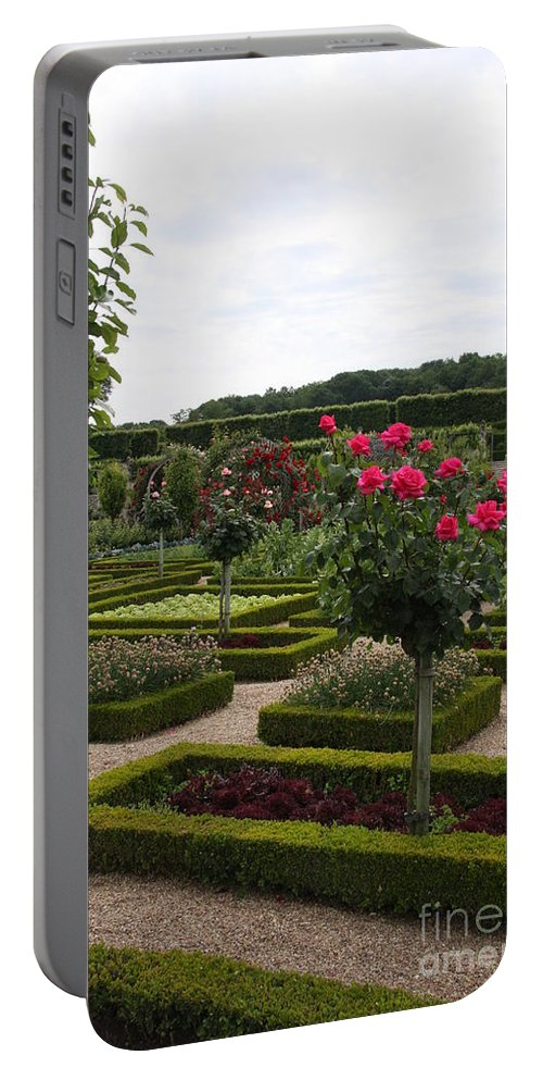 Roses Portable Battery Charger featuring the photograph Roses And Cabbage - Chateau Villandry by Christiane Schulze Art And Photography