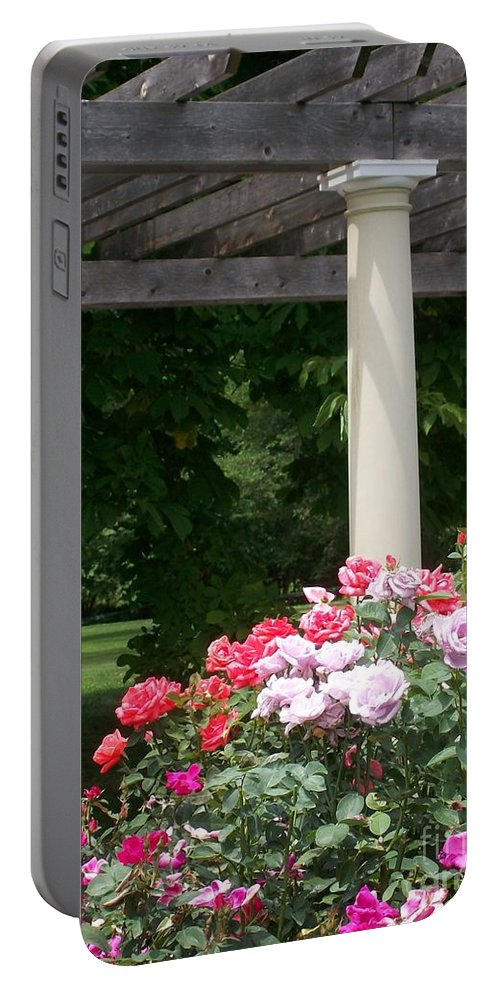Rose Portable Battery Charger featuring the photograph Roses And Pergola by Laurie Eve Loftin