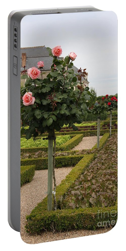 Roses Portable Battery Charger featuring the photograph Roses And Salad - Chateau Villandry by Christiane Schulze Art And Photography