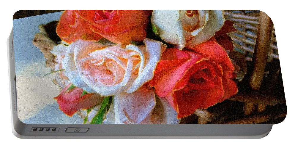 Still Life Portable Battery Charger featuring the painting Roses Florentine by RC DeWinter
