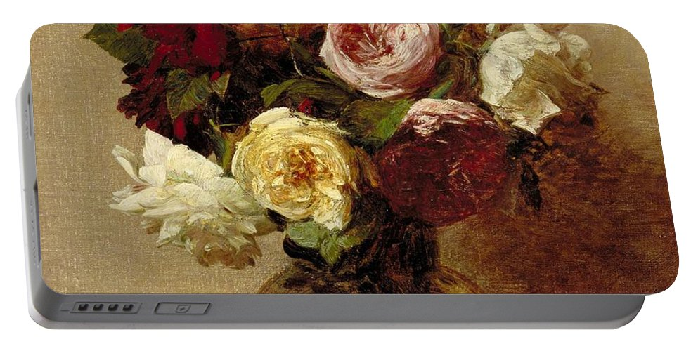 Still-life Portable Battery Charger featuring the painting Roses by Ignace Henri Jean Fantin-Latour