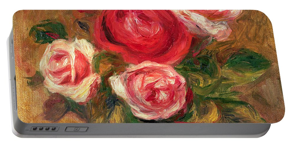 Impressionist Portable Battery Charger featuring the painting Roses In A Pot by Pierre Auguste Renoir
