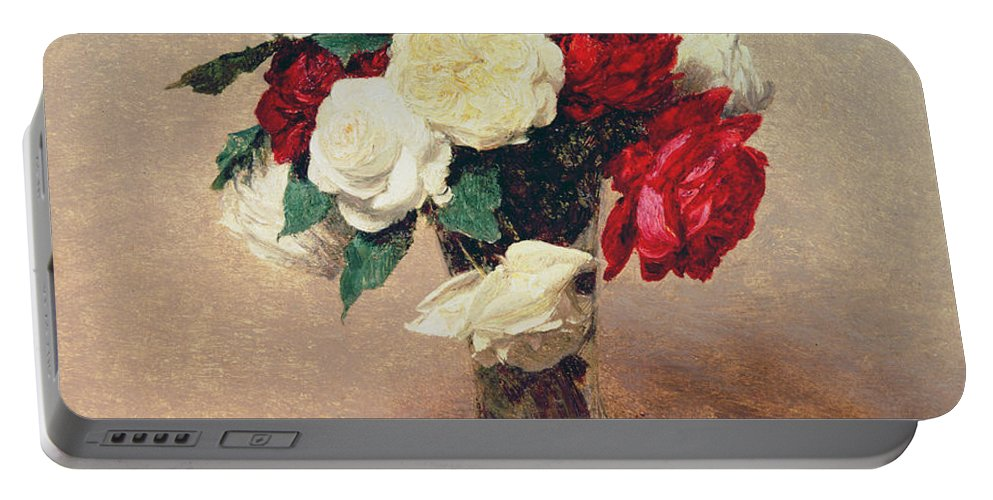 Still Life Portable Battery Charger featuring the painting Roses In A Vase With Stem by Ignace Henri Jean Fantin-Latour