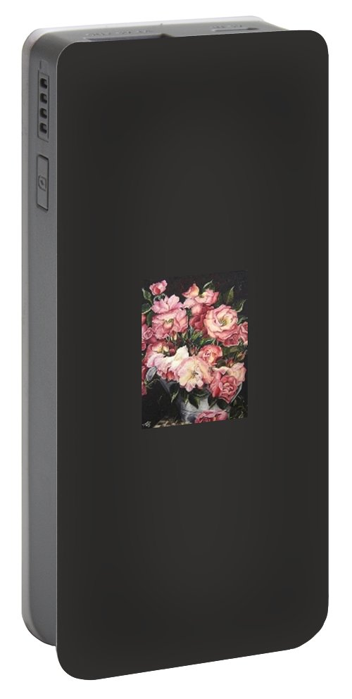 Pink Roses Floral Flowers Portable Battery Charger featuring the painting Roses In A Watercan by Karin Dawn Kelshall- Best
