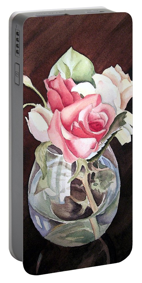 Rose Portable Battery Charger featuring the painting Roses In The Glass Vase by Irina Sztukowski