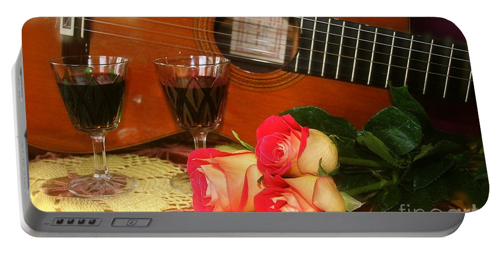 Guitar Portable Battery Charger featuring the photograph Guitar 'n Roses by The Art of Alice Terrill