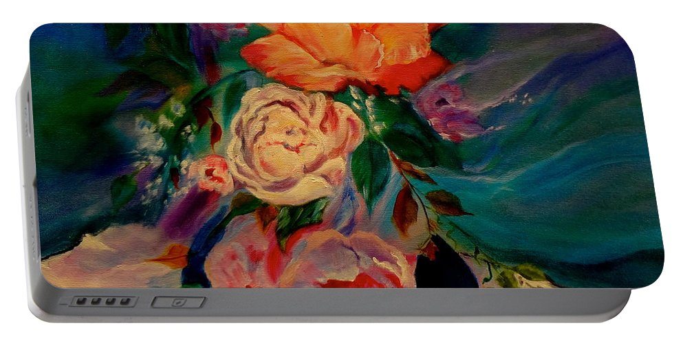 Roses Portable Battery Charger featuring the painting Roses Roses Roses by Jenny Lee