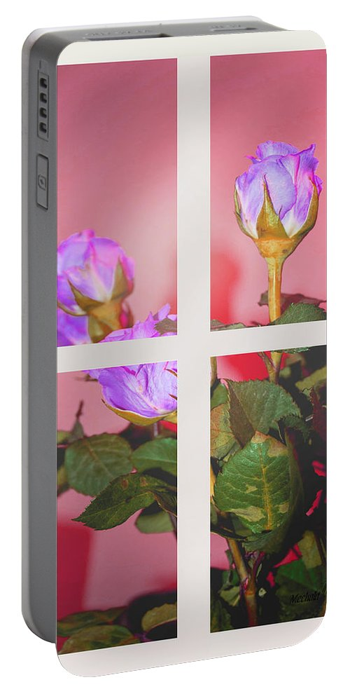 Roses Through The Window Portable Battery Charger featuring the photograph Roses Through The Window by Mechala Matthews