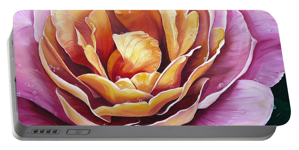 Rose Painting Pink Yellow Floral Painting Flower Bloom Botanical Painting Botanical Painting Portable Battery Charger featuring the painting Rosy Dew by Karin Dawn Kelshall- Best