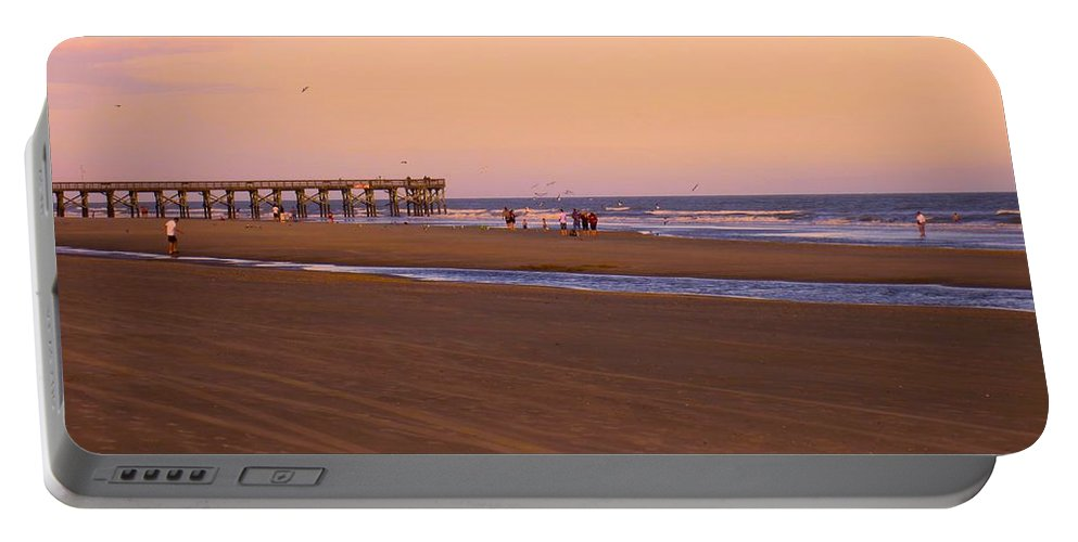 Kendall Kessler Portable Battery Charger featuring the photograph Rosy Evening At Isle Of Palms by Kendall Kessler