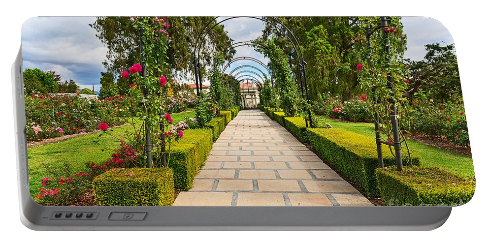 Rose Garden Portable Battery Charger featuring the photograph Rosy Path by Jamie Pham