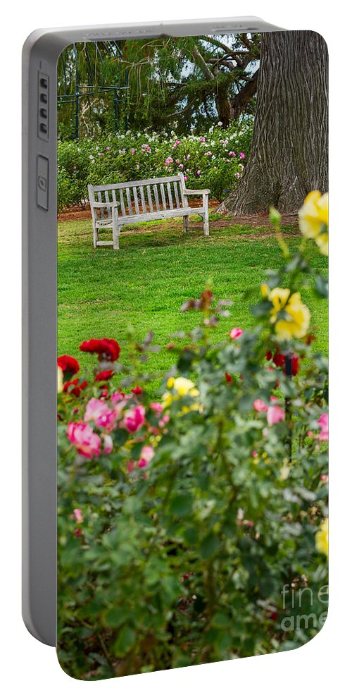 Rose Garden Portable Battery Charger featuring the photograph Rosy View - Beautiful Rose Garden Of The Huntington Library. by Jamie Pham