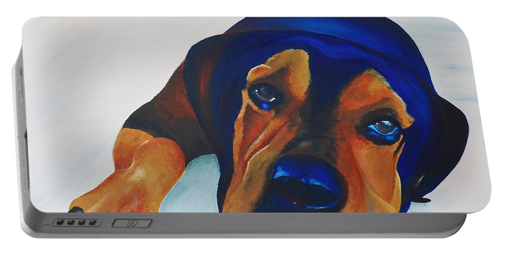 Samson Portable Battery Charger featuring the painting Rottweiler by Catt Kyriacou