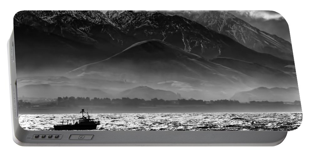 Rough Sea Portable Battery Charger featuring the photograph Rough Seas Kaikoura New Zealand In Black And White by Amanda Stadther
