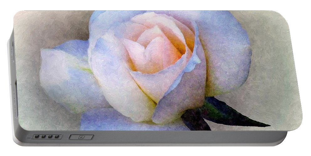 Rose Portable Battery Charger featuring the painting Roughsilk Rose by RC DeWinter