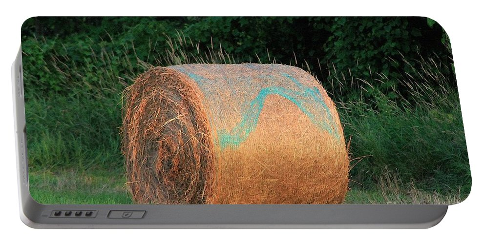Mccombie Portable Battery Charger featuring the painting Round Hay Bale by J McCombie