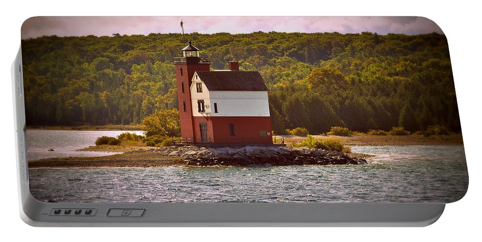 Mackinac Island Portable Battery Charger featuring the photograph Round Island Lighthouse by Marysue Ryan