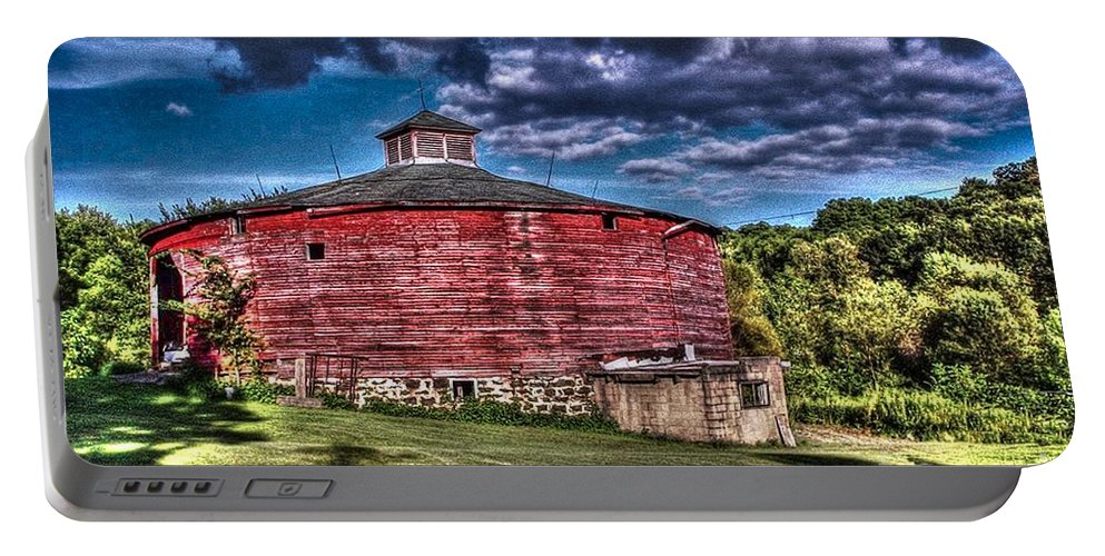 Round Barn Portable Battery Charger featuring the photograph Round Red Barn by Tommy Anderson