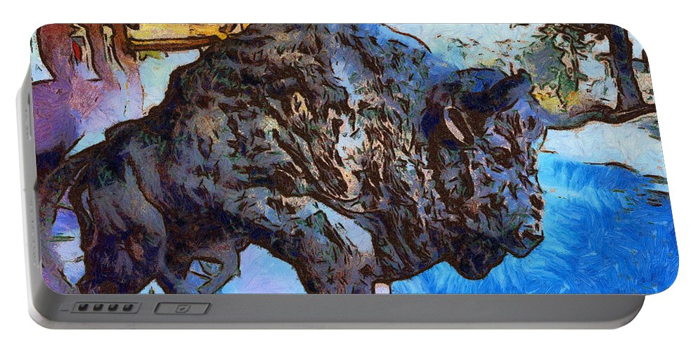 Barbara Snyder Portable Battery Charger featuring the digital art Round Up Market Buffalo by Barbara Snyder