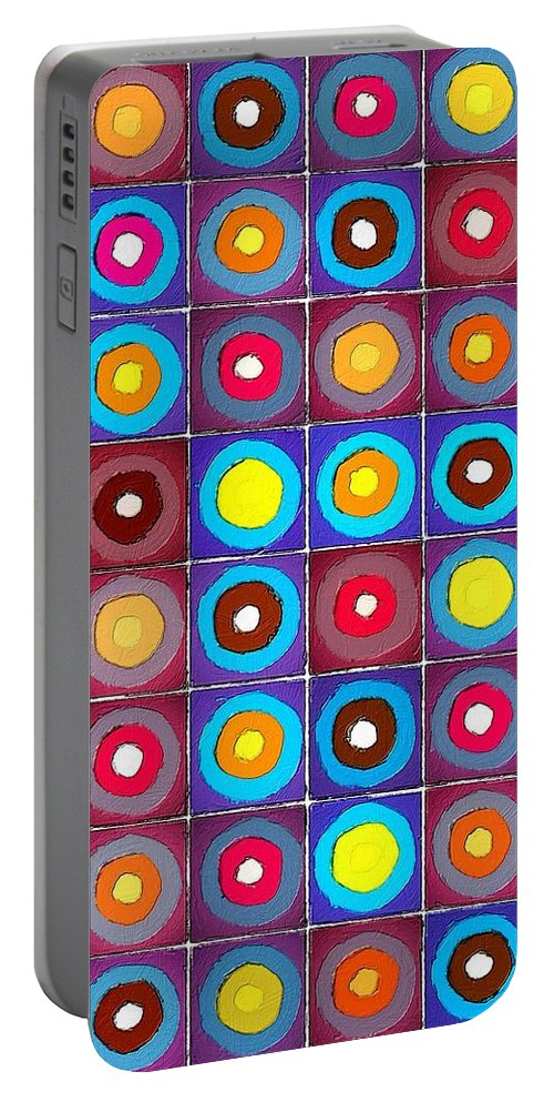 Abstract Portable Battery Charger featuring the painting Round Up The Squares by Florian Rodarte