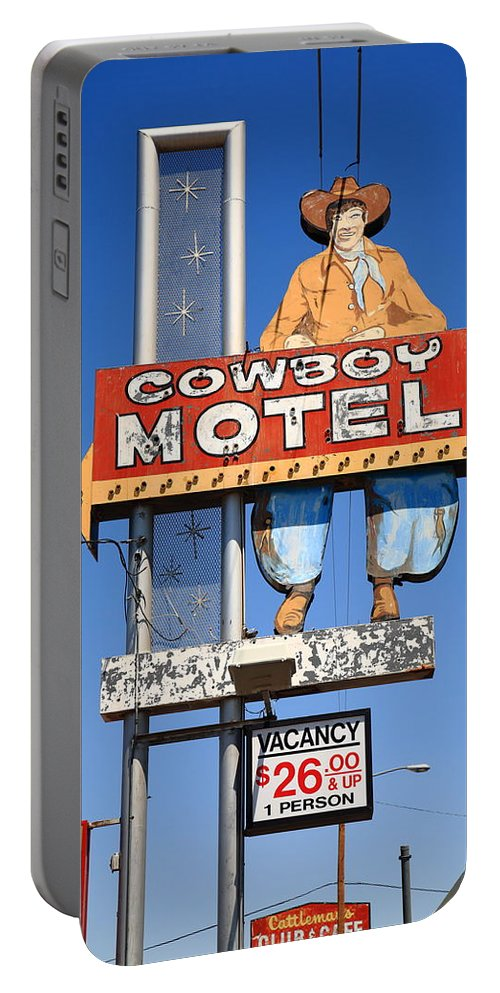 66 Portable Battery Charger featuring the photograph Route 66 - Cowboy Motel by Frank Romeo