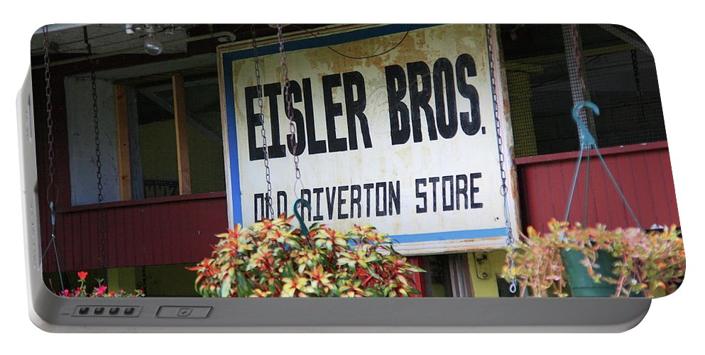 66 Portable Battery Charger featuring the photograph Route 66 - Eisler Brothers Old Riverton Store by Frank Romeo