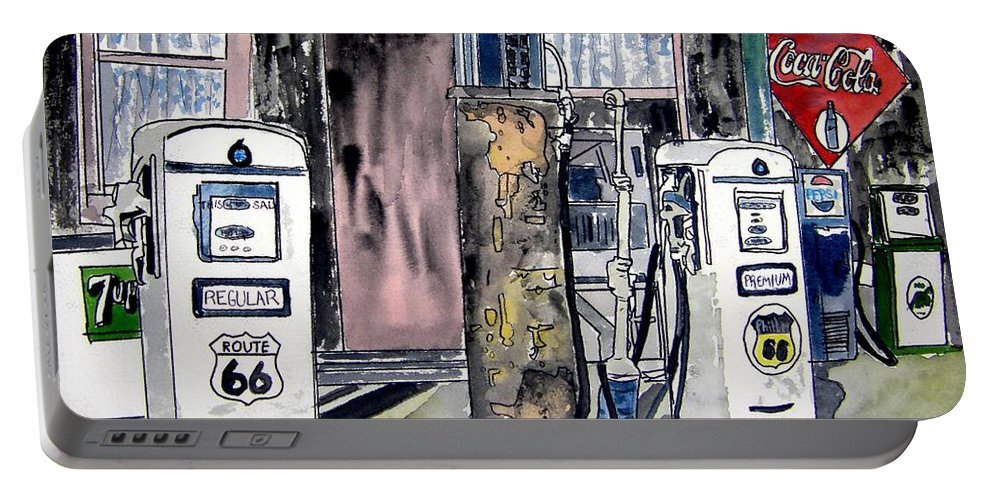 Watercolor Portable Battery Charger featuring the painting Route 66 Gas Station by Derek Mccrea