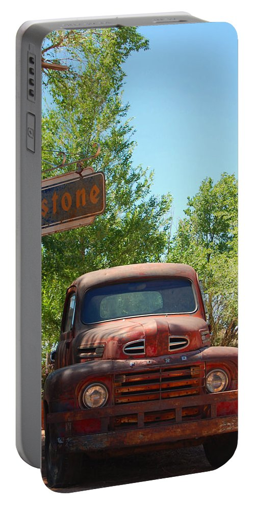 Firestone Portable Battery Charger featuring the photograph Route 66 Truck by Leticia Latocki