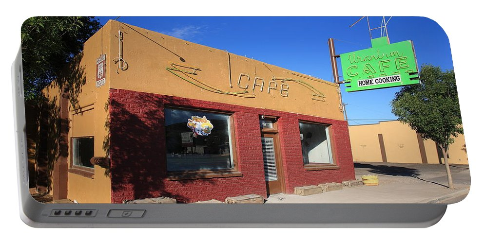 66 Portable Battery Charger featuring the photograph Route 66 - Uranium Cafe by Frank Romeo