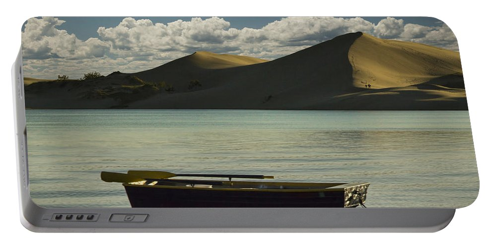 Art Portable Battery Charger featuring the photograph Row Boat On Silver Lake With Dunes by Randall Nyhof