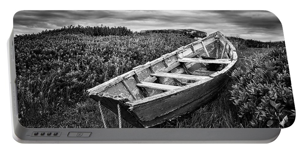Rowboats Portable Battery Charger featuring the photograph Rowboat At Prospect Point - Black And White by Nikolyn McDonald
