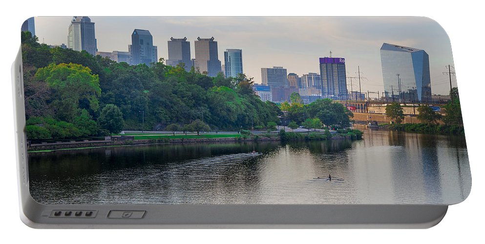 Rowing Portable Battery Charger featuring the photograph Rowing On The Schuylkill Riverwith Philadelphia Cityscape In Vie by Bill Cannon