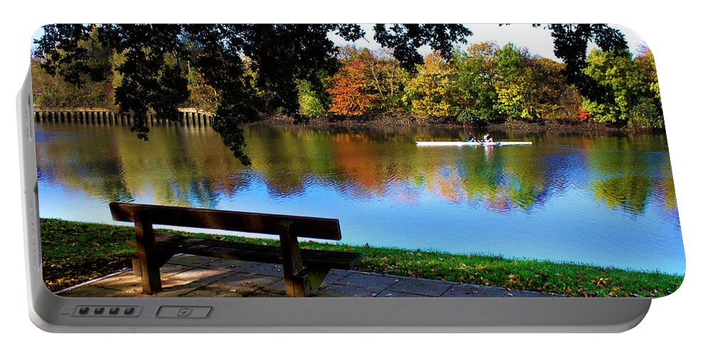 River Itchen Portable Battery Charger featuring the photograph Rowing The River Itchen by Terri Waters