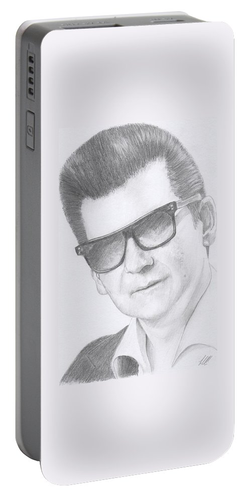 Portrait Of Roy Orbison Portable Battery Charger featuring the drawing Roy Orbison by Keith Miller
