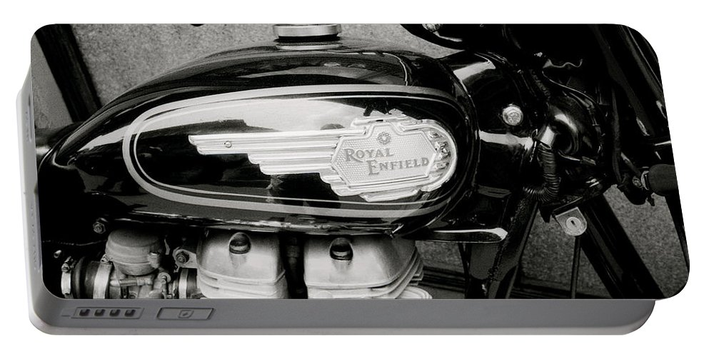 Motorbike Portable Battery Charger featuring the photograph Royal Enfield Motorbike by Shaun Higson