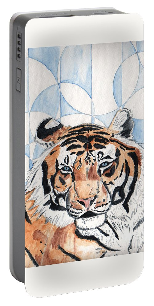 Tiger Portable Battery Charger featuring the painting Royal Mysticism by Crystal Hubbard