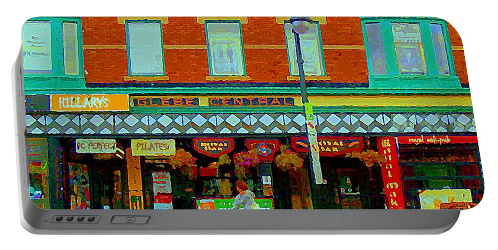 Ottawa Portable Battery Charger featuring the painting Royal Oaks British Pub Hillarys And Pc Perfect Glebe Central Paintings Of Ottawa Scenes C Spandau by Carole Spandau