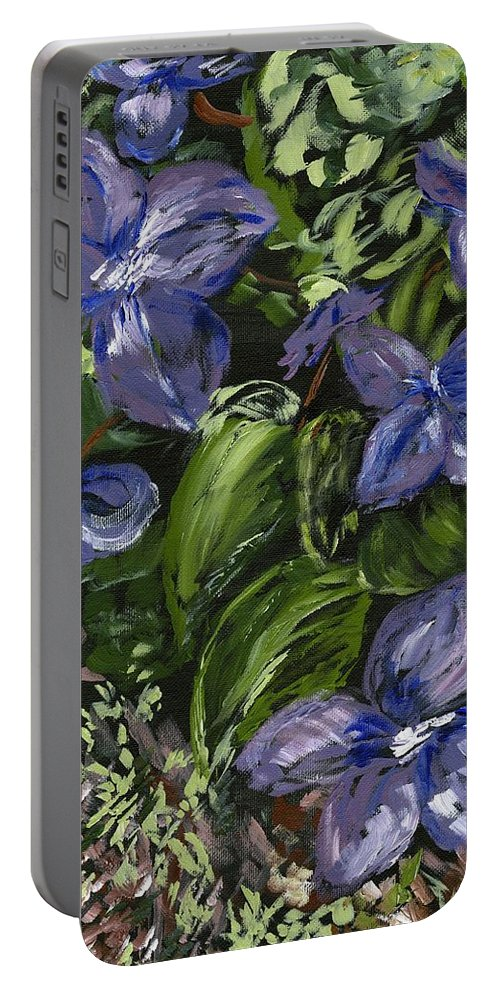 Violets Portable Battery Charger featuring the painting Royal Purple by Alice Faber