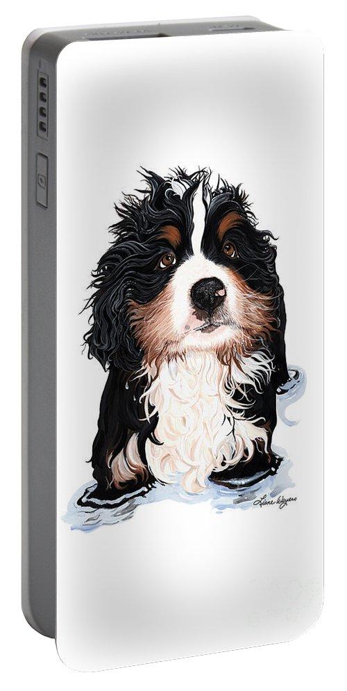 Bernese Mountain Dog Puppy Rub-a-dub-dub Portable Battery Charger featuring the painting Rub-a-dub-dub Phone by Liane Weyers