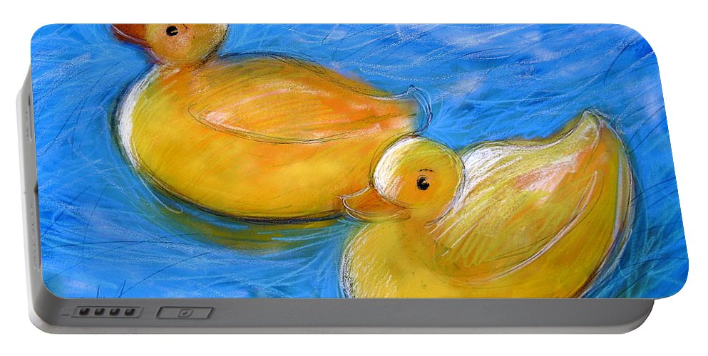 Yellow Ducks Portable Battery Charger featuring the mixed media Rubber Ducks In A Tub by Gerry High