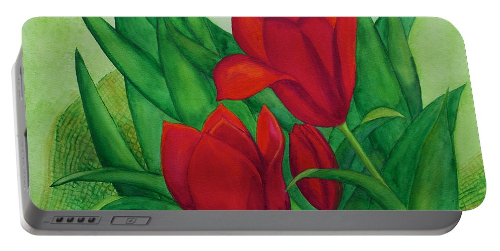 Tulip Portable Battery Charger featuring the painting Ruby Red Tulips by Patricia Beebe